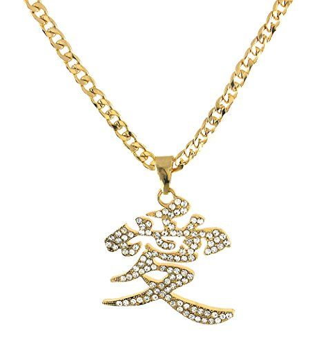 Chinese Character Symbol Love Crystal Pave Pendant Cuban Curb Chain