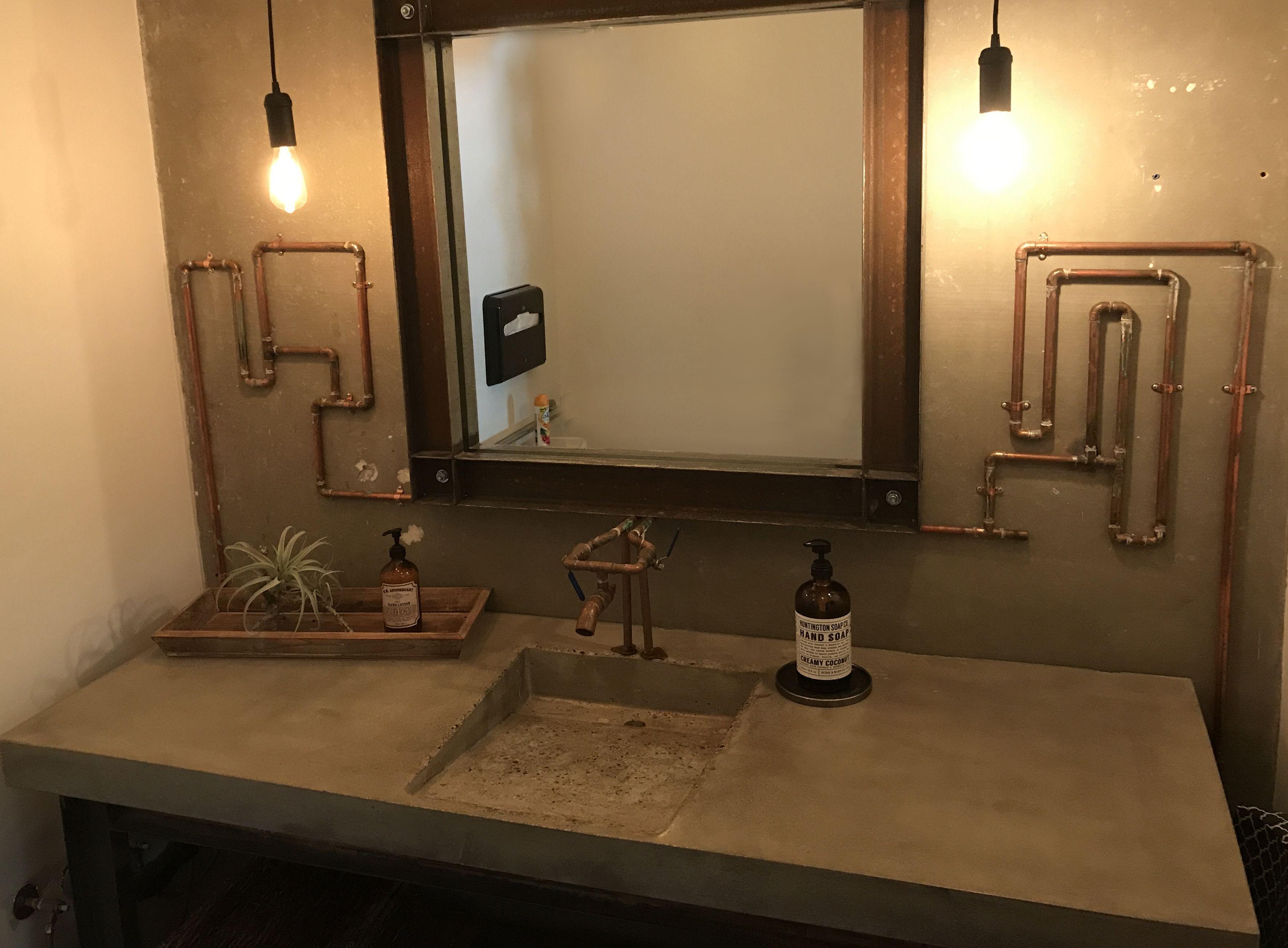 Industrial Style Bathroom W Concrete Countertop Bathroom
