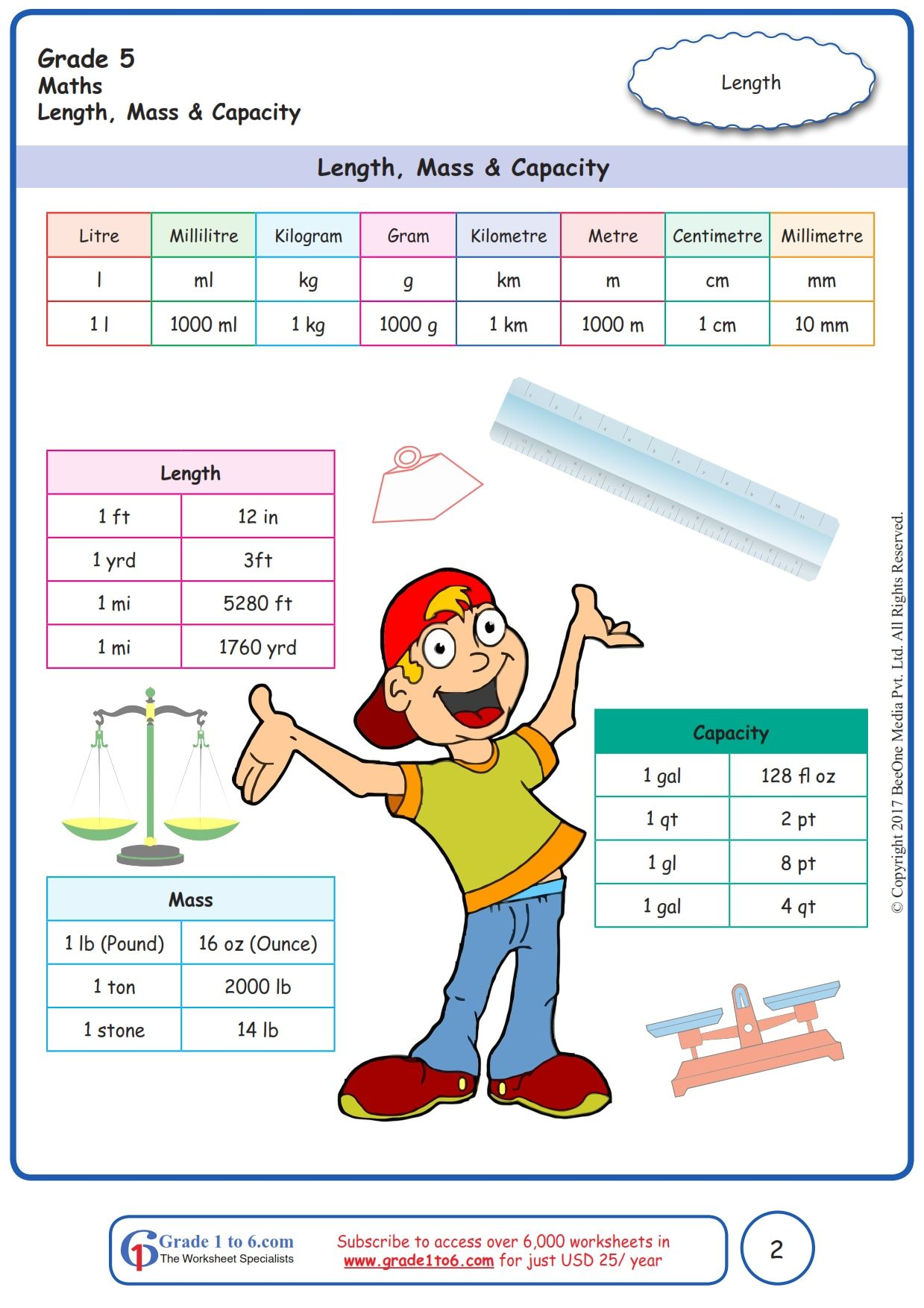 Worksheet Grade 5 Math Length Mass \u0026 Capacity   Free math worksheets [ 1754 x 1239 Pixel ]