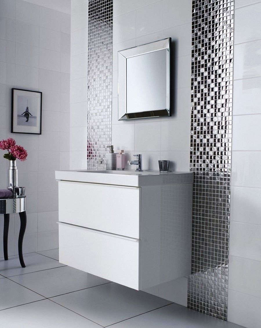 Bathroom White Mounted Wall Sink Cabinet Plus Glossy Bathroom Tile