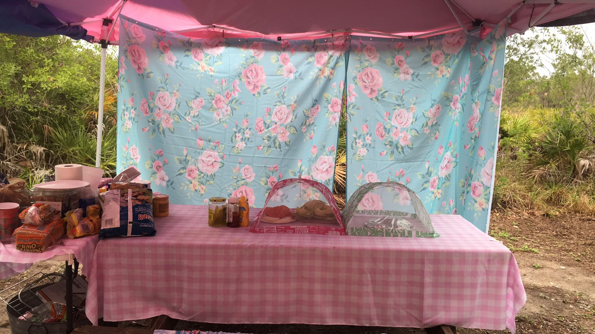 I used shower curtains to keep rain out from under canopy over ...