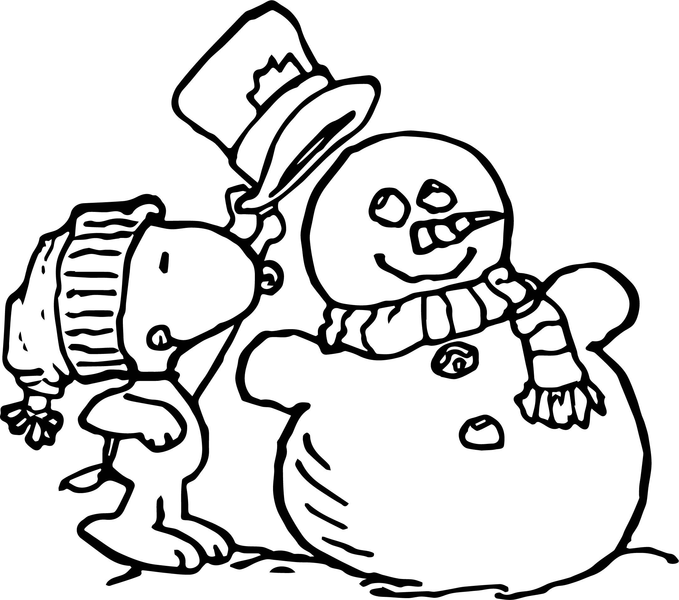 Printable Happy Snowman Christmas Coloring Pages Printable