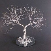 Tree Sculptures - Two Standing Together Wedding Cake Topper Sculpture by Ken Phillips