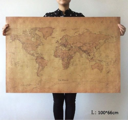 Large world map poster vintage earth globe travel coffee home art large world map poster vintage earth globe travel coffee home art wall decor gumiabroncs Gallery