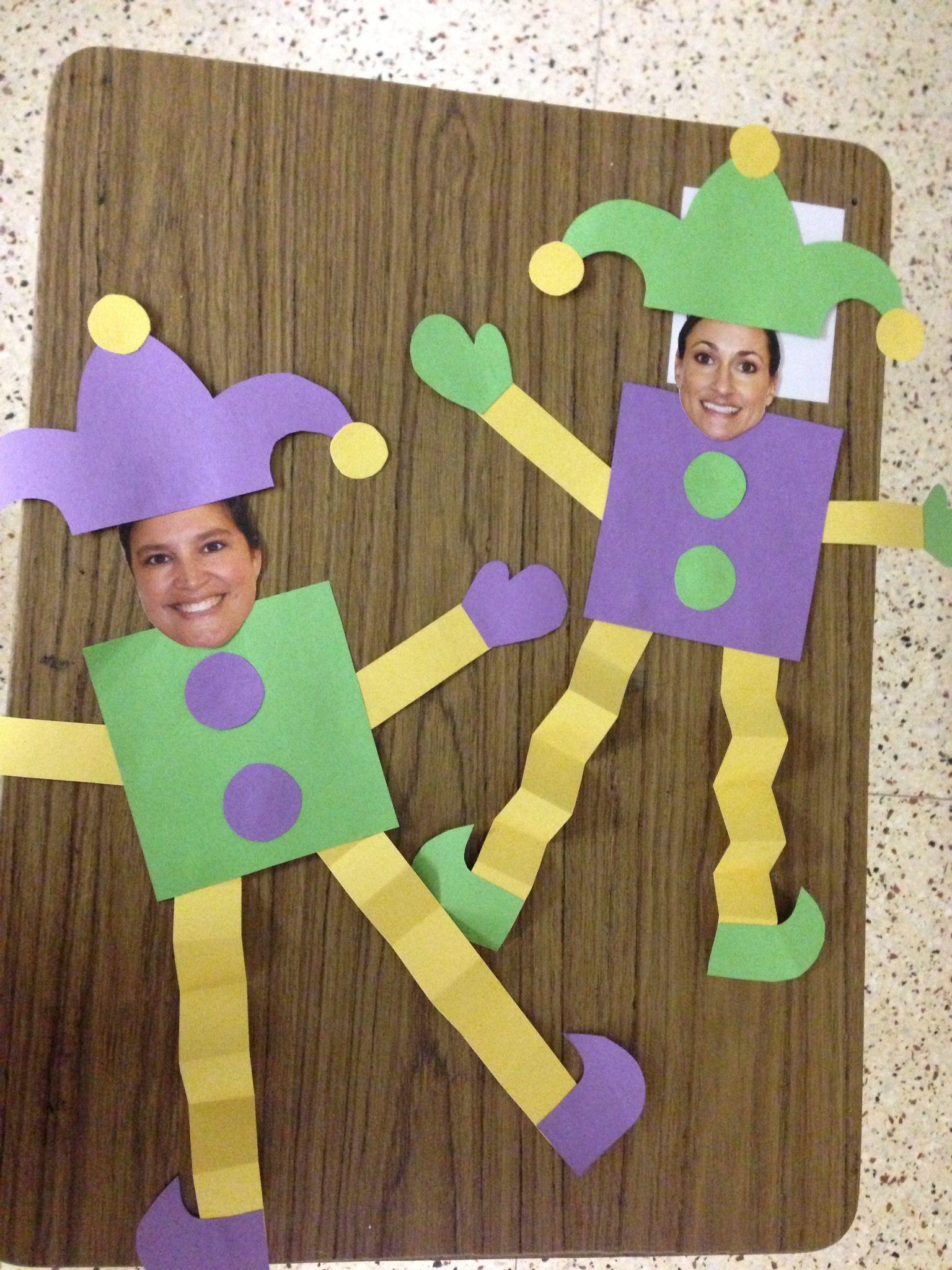Kindergarten Mardi Gras Jesters Ue Students Faces
