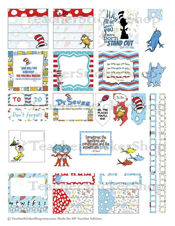 Dr  Seuss stickers for HP and EC Teacher Planners | My Happy