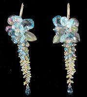 Blue Gem Cascading Earrings by Andrea Li. STUNNING