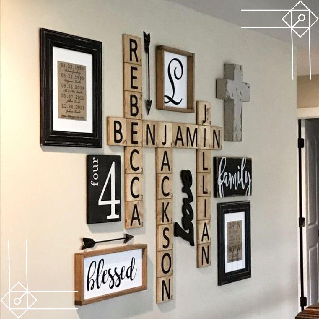 Scrabble wall art diy idea would look great in a farmhouse foyer