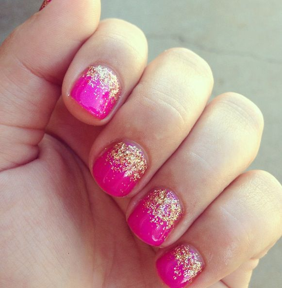 Pin By Lisa Casner On All Things Girl Pink Gold Nails Pink Gel Nails Gold Nails