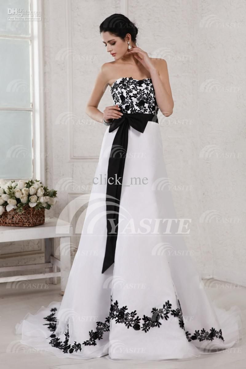 30+ Black and White Wedding Dresses Combination : Newest White And ...