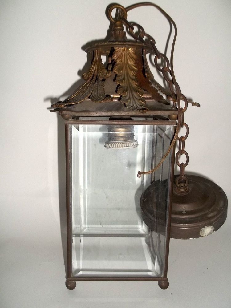 Vintage hanging porch light ornate brass leaves beveled glass in