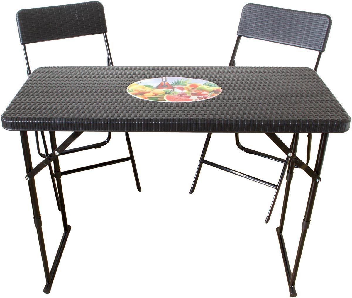 Klapptisch Mit 2 Stuhlen Rattan Optik Balkon Set Tisch Hohenverstellbar Klapptisch Stuhle