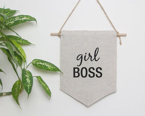 Girl Boss wall hanging wall flag feminism decor lady boss by Emodi