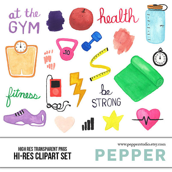 Instant Download Health Fitness Watercolor Illustration Clipart Gym Work Out Exercise Hi Res Hand P Clip Art Watercolor Clipart Watercolor Illustration
