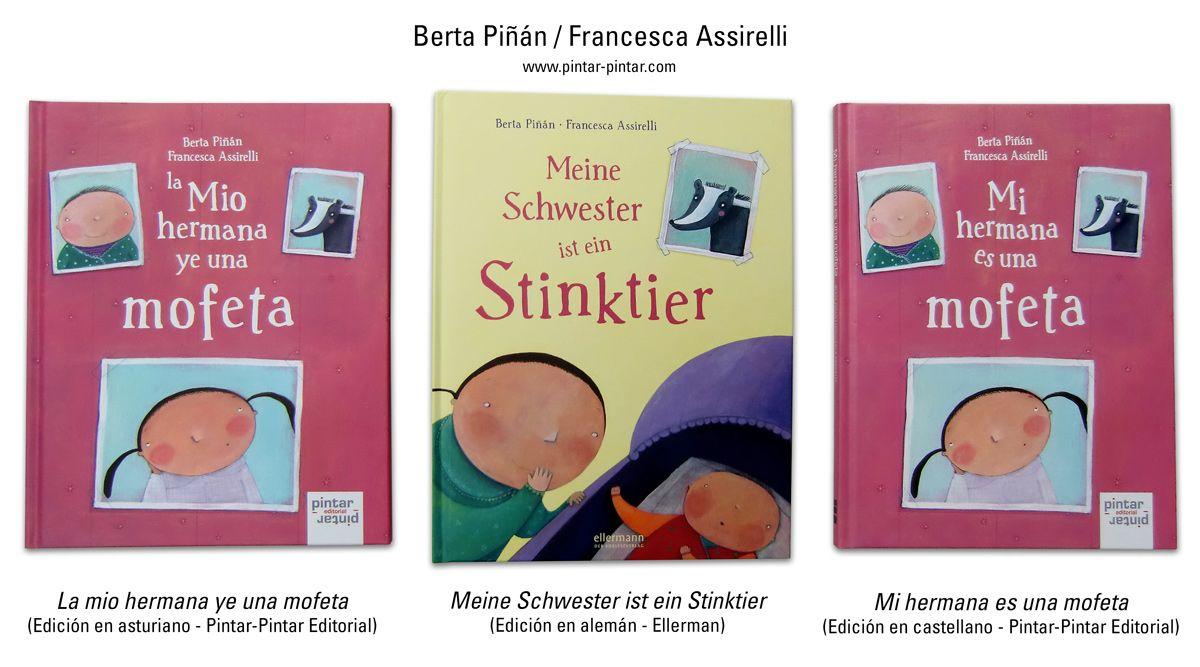 """El pasado mes de junio os informábamos de que nuestro libro """"La mio hermana ye una mofeta"""" que editamos en asturiano y posteriormente en castellano, con texto de Berta Piñán e ilustraciones de Francesca Asirelli, iba a ser publicado en alemán por la Editorial Ellerman.  Pues ya os podemos enseñar el resultado: un álbum ilustrado muy cuidado, en el que la mofeta se convierte en una """"stinktier"""", y la señorita """"Luisi"""" pasa a ser """"Frau Luisi""""…"""