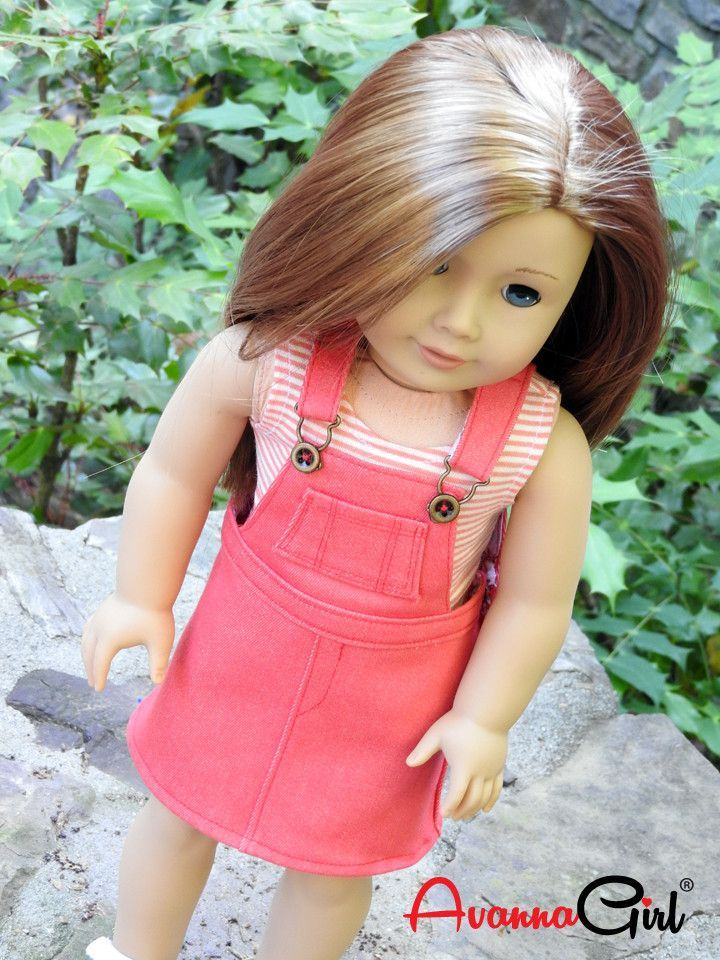 Trendy 18 Inch Doll Overall Dress and Tank Top | American Girl Dolls ...