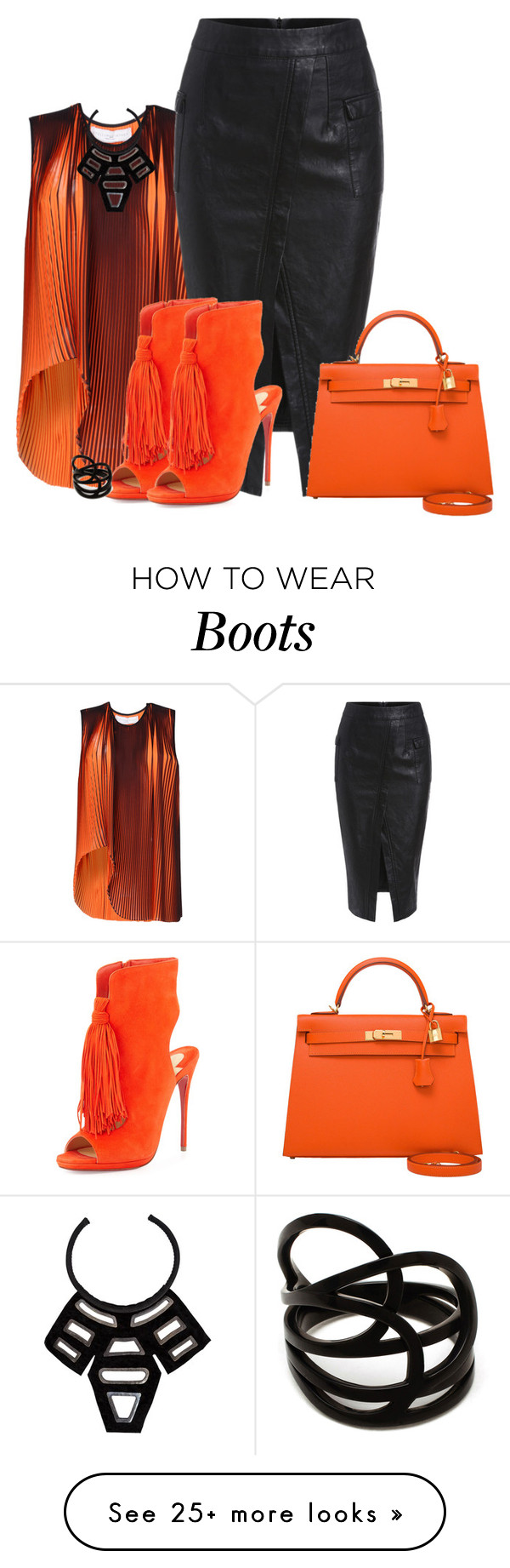 """""""Ankle Boots and a Pencil Skirt"""" by ayupsakti on Polyvore featuring STELLA McCARTNEY, Christian Louboutin, URBAN ZEN, Repossi and Hermès"""