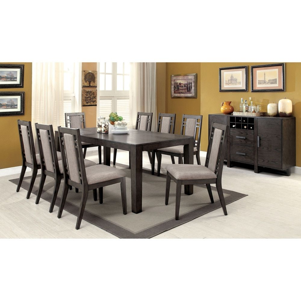 Furniture Of America Basson Rustic Grey 9Piece Expandable Dining Best Grey Dining Room Sets Decorating Design