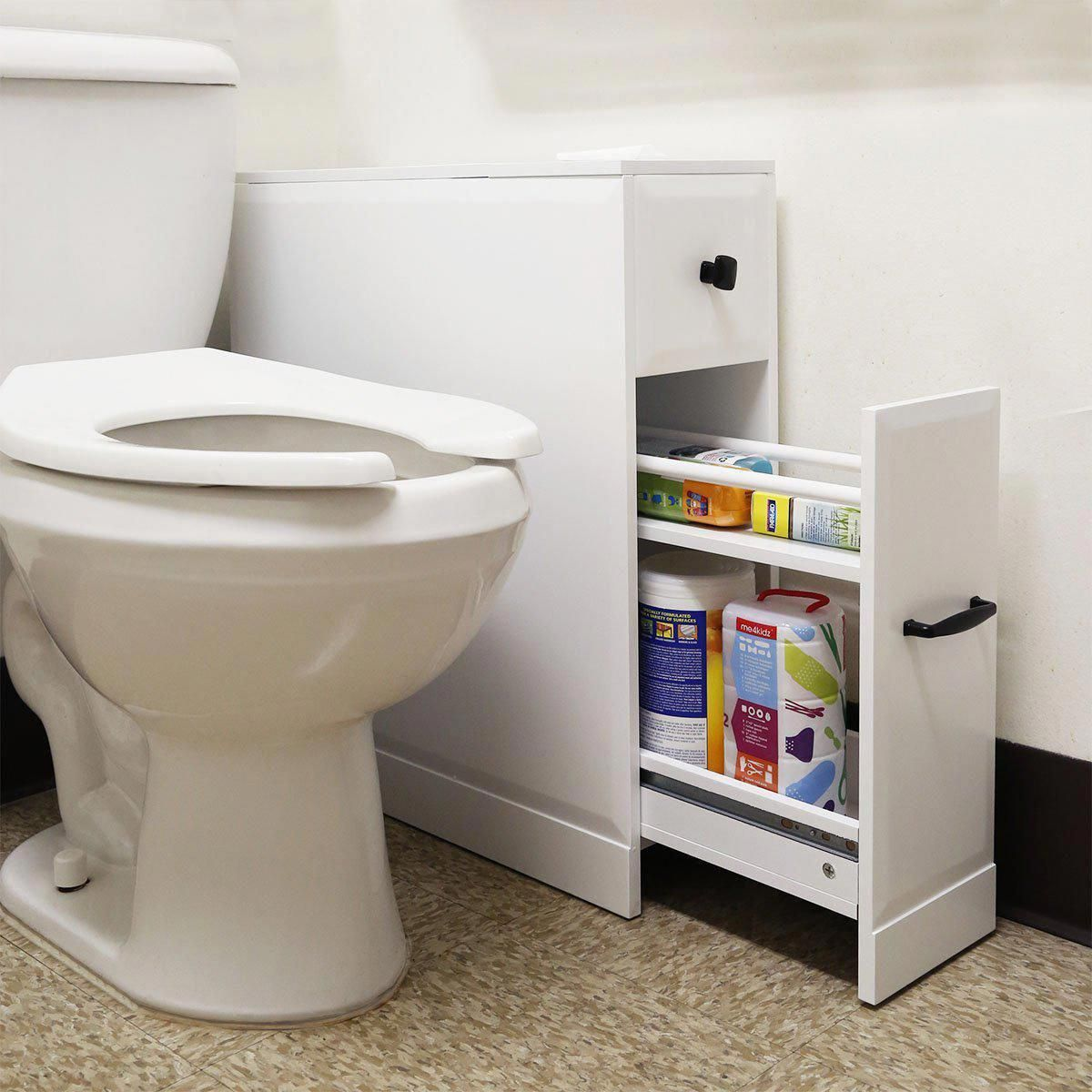 The Slide Out Bathroom Floor Cabinet With A Narrow Footprint But Large Capacity That A In 2020 Diy Bathroom Storage Free Standing Toilet Paper Holder Bathroom Storage