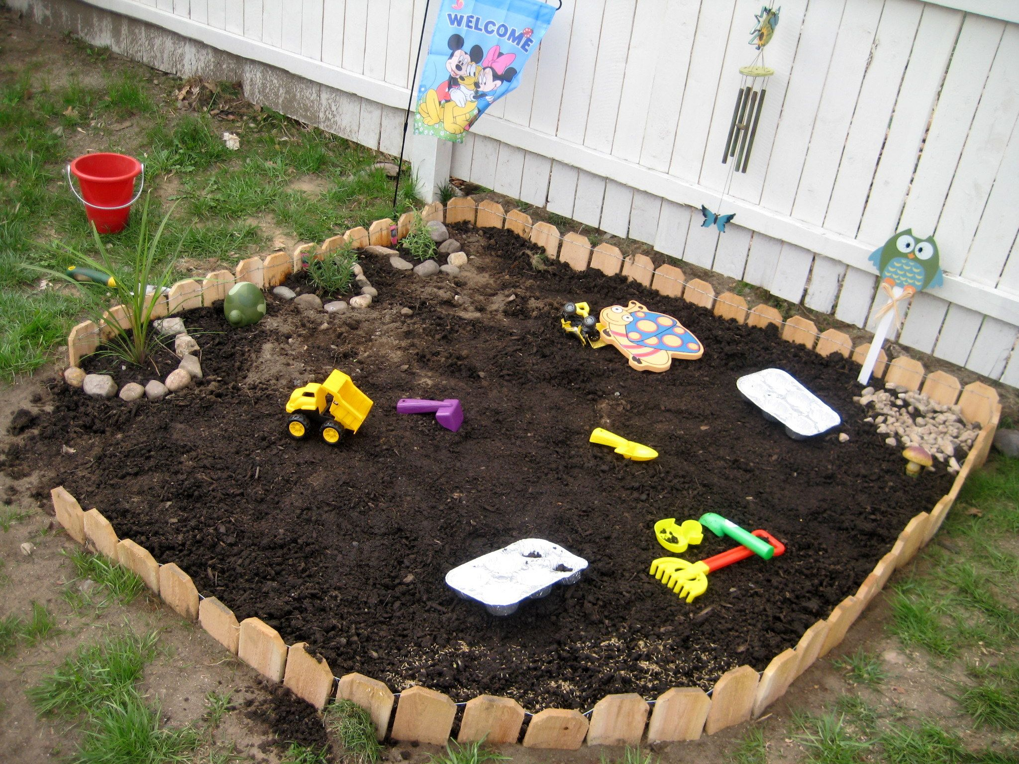 Jack s new garden dirt play area he absolutly loves it