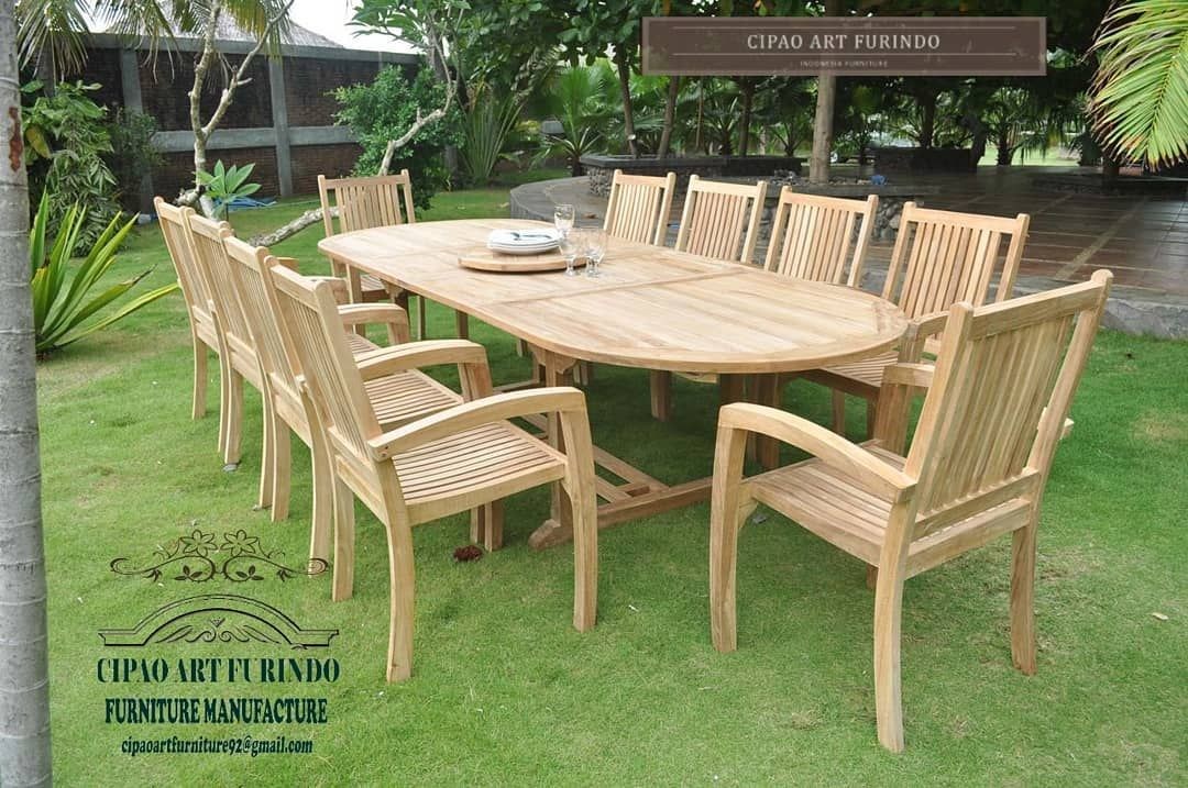 Meja Dan Kursi Jati Garden Outdoor Hari Cerah Dengan Suasana Yg Santai Dihalaman Anda A Teak Outdoor Furniture Teak Garden Furniture Clearance Patio Furniture