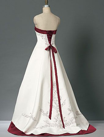 Wedding Dress Color Red Accent