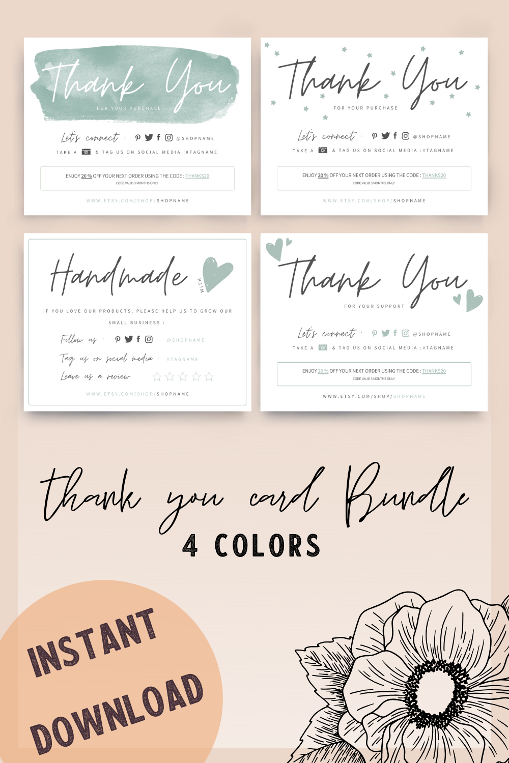 Diy Thank You Card Template Handmade With Love Card Bundle Multipack Small Business Maketing Thank You Card Design Thank You Card Template Thanks Card