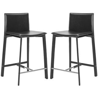 Safavieh Madison Ave Black Leather 246 Inch Counter Stool Set Of 2