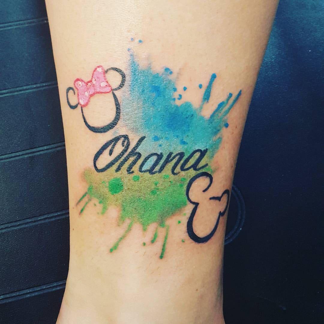 Some Little Watercolor Splash Tattooapprentice Watercolor Watercolortattoo Ohanatattoo Ohana Mickeyandminn Ohana Tattoo Tattoos For Kids Disney Tattoos Small