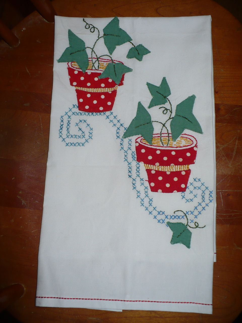 Applique Flower Pot Towel from looluus on Ruby Lane