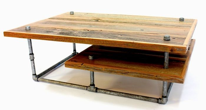 Reclaimed barn wood and galvanized pipes - industrial-style coffee table.