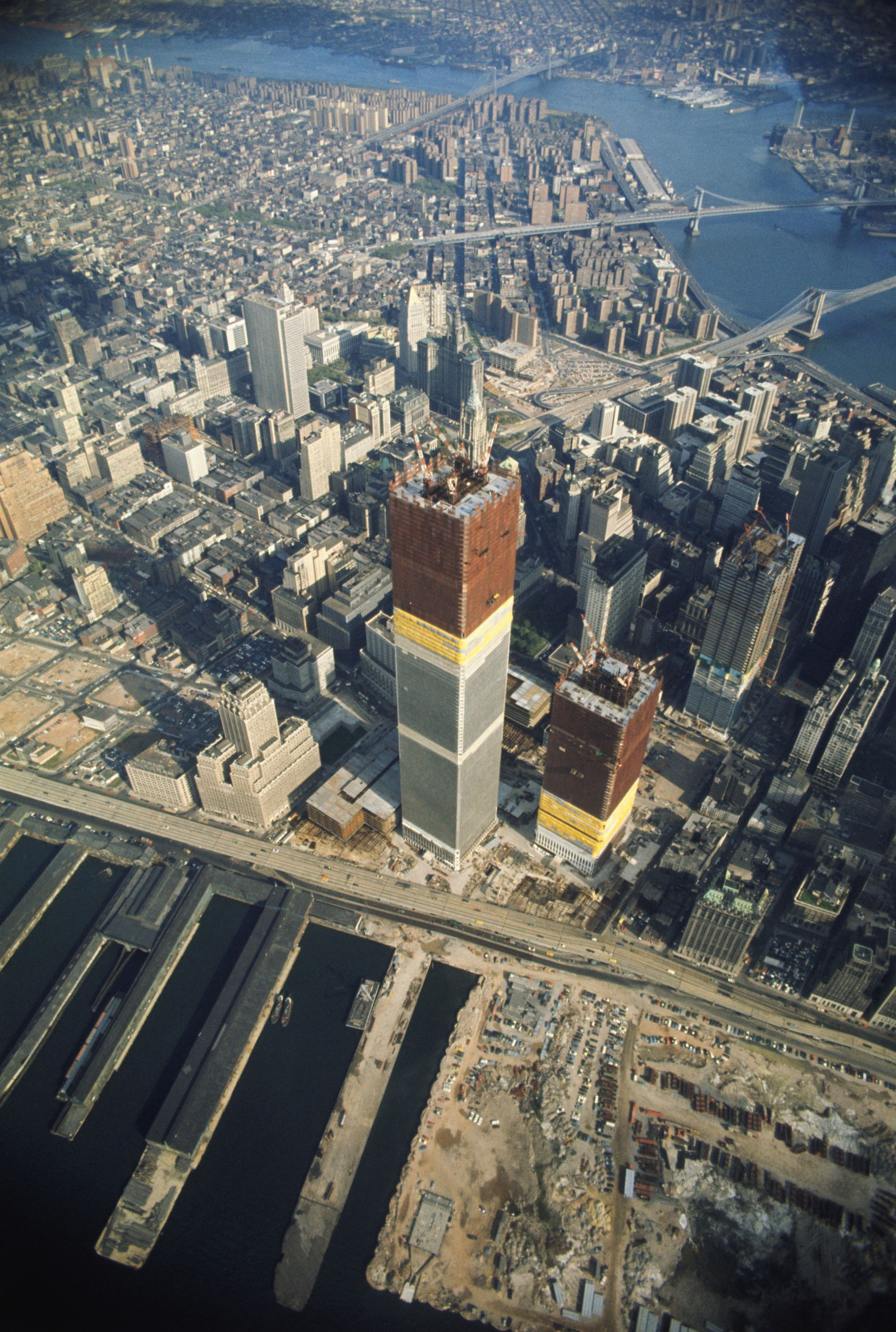 (Original Caption) New York: Airview of one of the two towers of the World Trade…