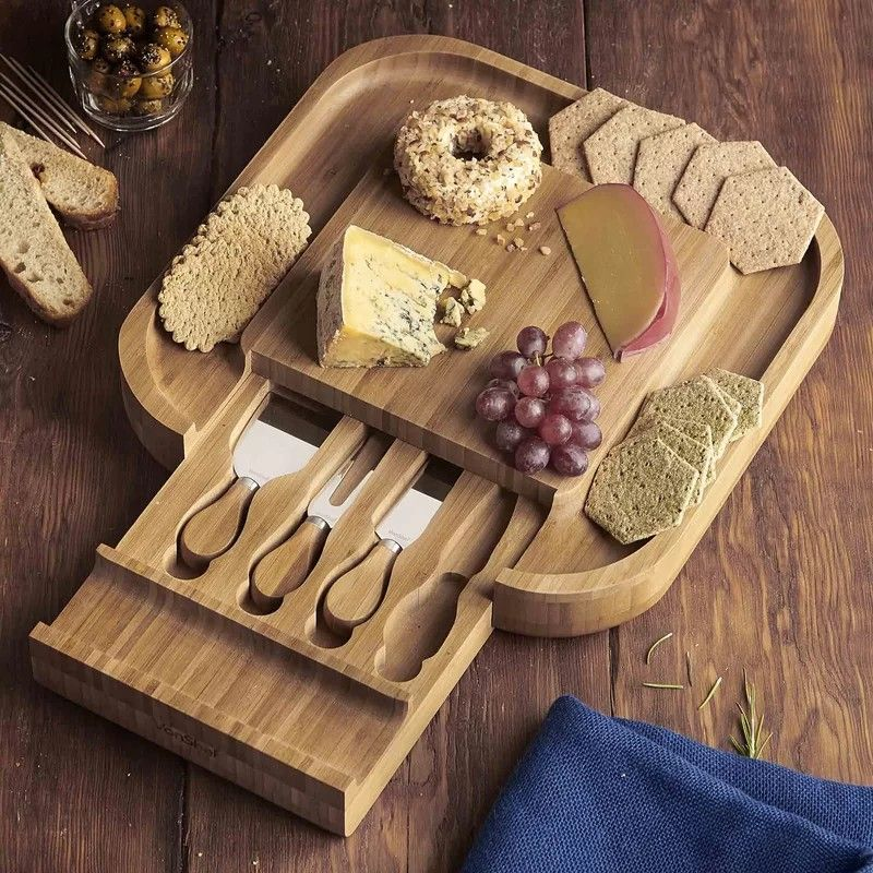 5 piece square slide out cheese board set cheese board