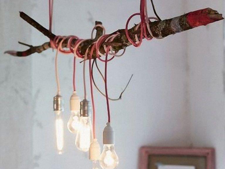 Diy Anleitung Deckenlampe Am Ast Bauen Via Dawanda Com Licht