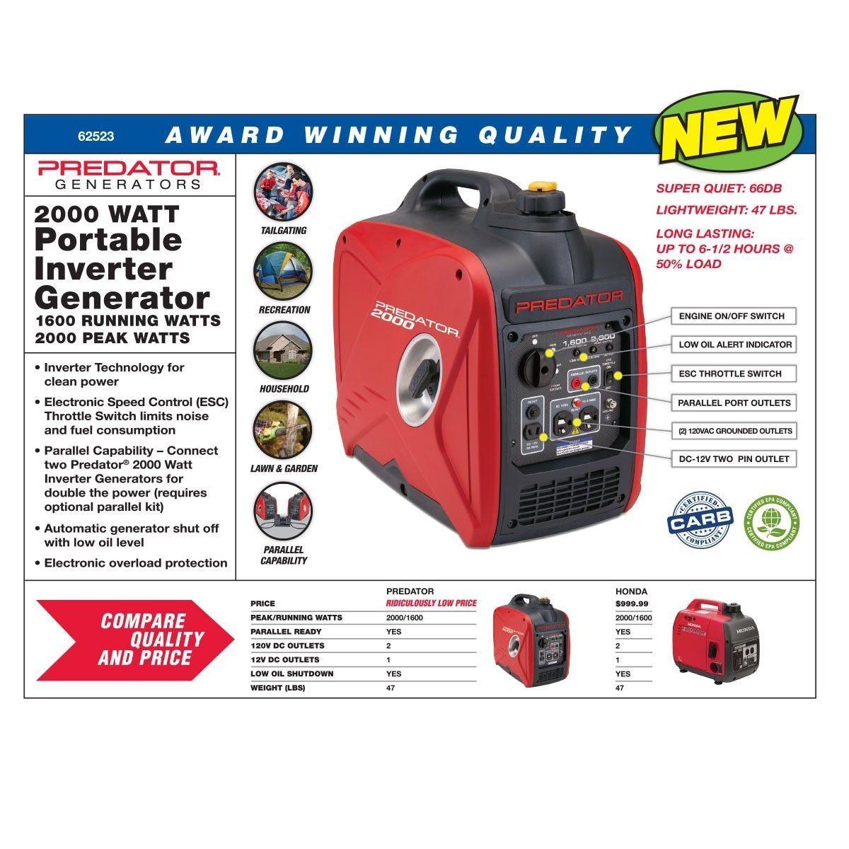 Predator 2000 Watt Generator Inverter Free Pr Shipping Generators For Sale Electronic Speed Control Generation