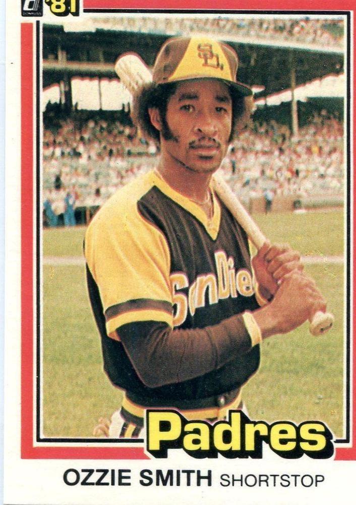 Ozzie Smith 1981 Donruss Baseball Card 1 San Diego Padres 217 Old Baseball Cards Baseball Cards Baseball