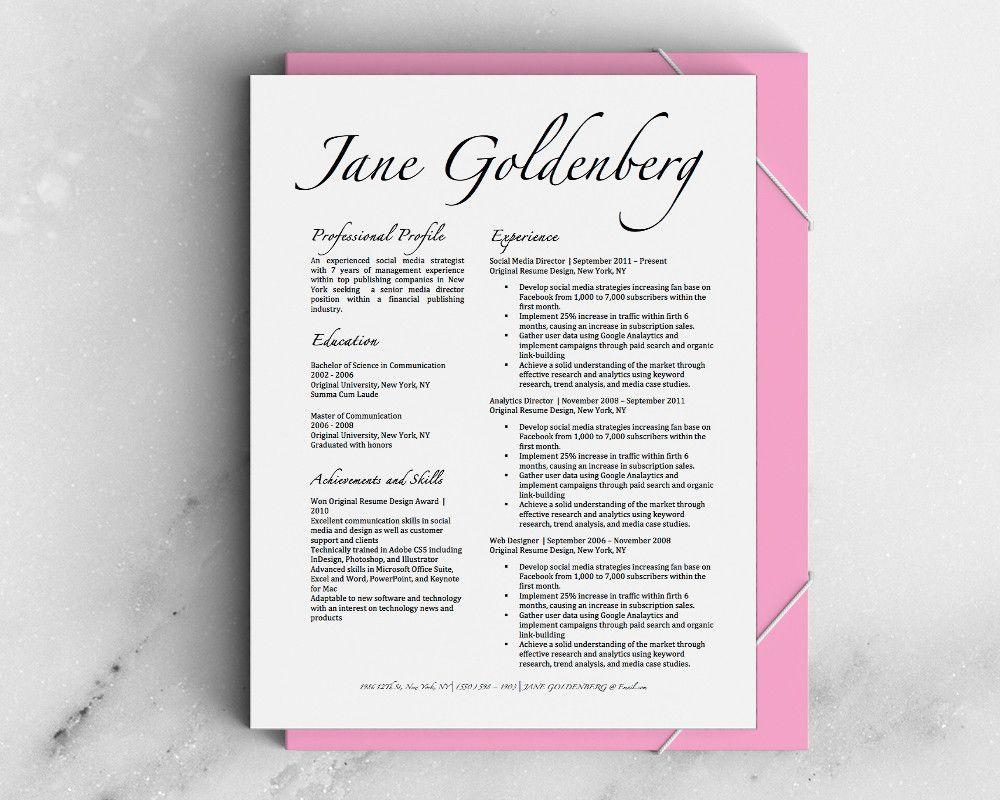 Jane Goldenberg Resume Template   Original Resume Design Shop ...