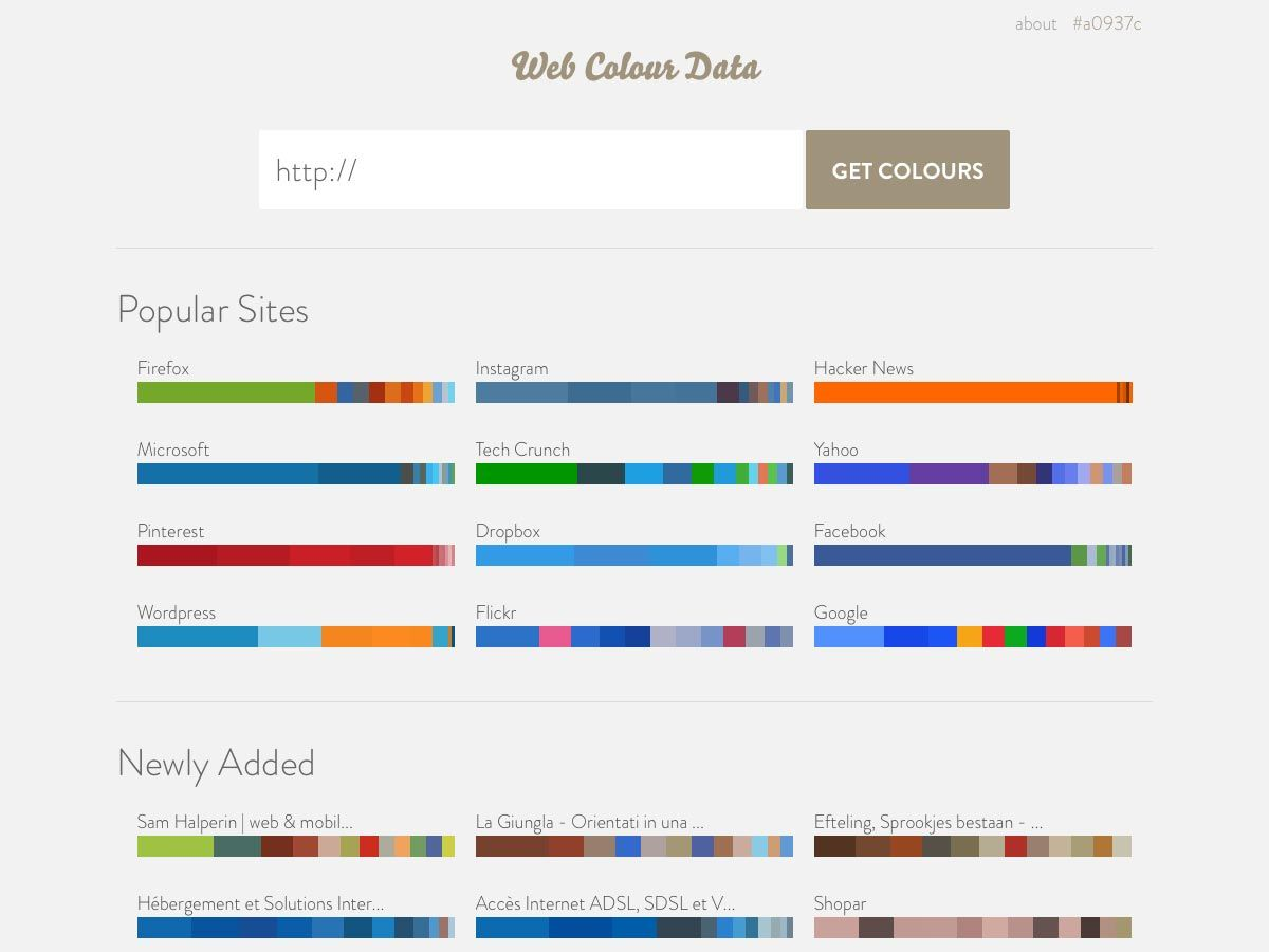 Whats new for designers may 2013 mobile app design site web colour data makes it simple to pull color data from any url complete with nvjuhfo Image collections