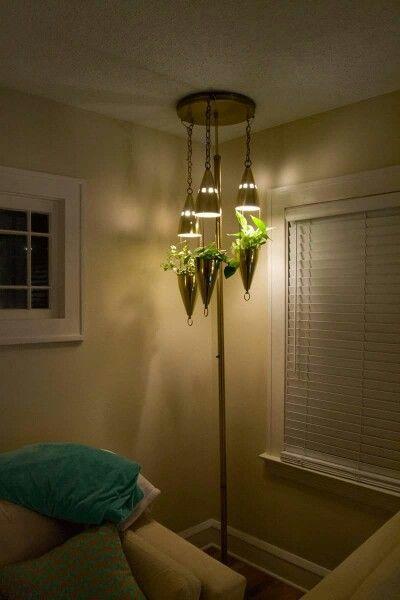 Vintage Mid century modern  pole light planter. What??!