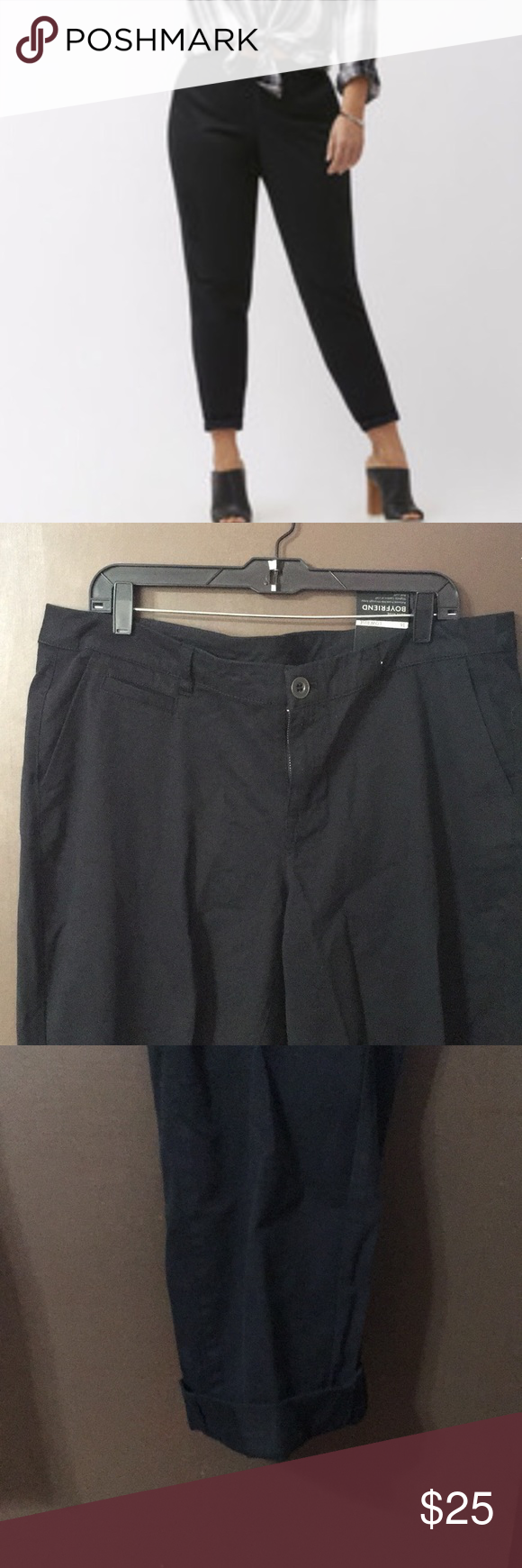 e3c3f65b64cb8 NWT Lane Bryant boyfriend chino NWT Lane Bryant black boyfriend chino pants.  Relaxed from hip
