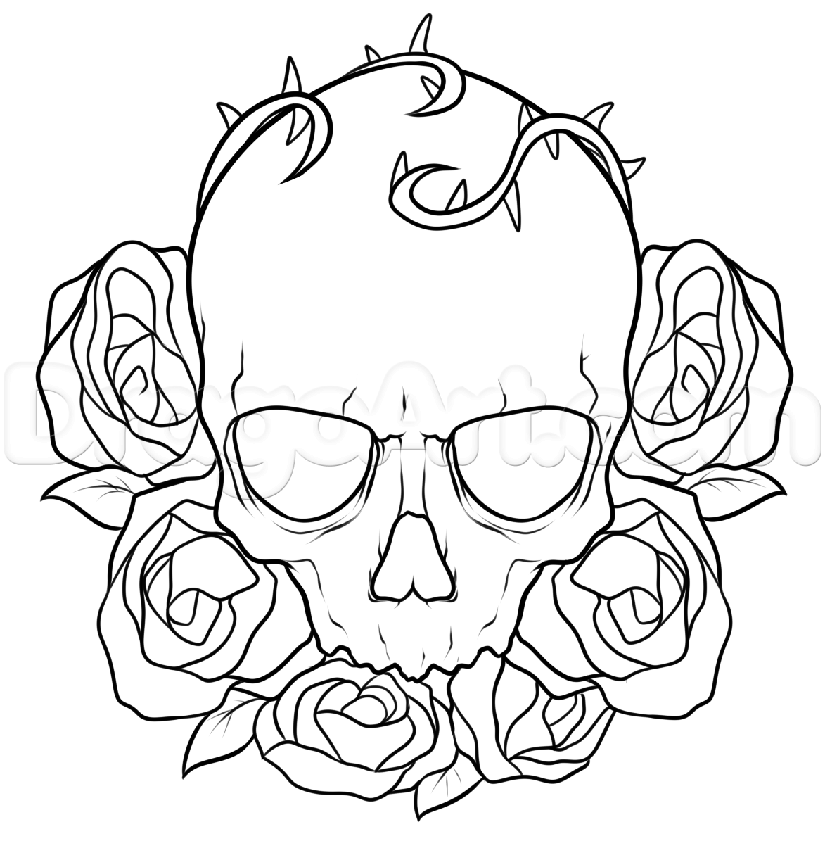 Line Drawing Skull : How to draw a skull and roses tattoo step