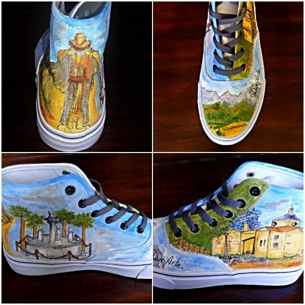 Zapatillas pintadas a mano alzada con lugares típicos de Arenas de San Pedro (Ávila)