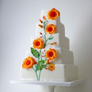 'Climbing Flowers' five tier square wedding cake decorated with sugarpaste and hand-painted flowers