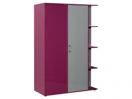 Kleiderschrank JACINTHE - 2 Türen - mit Regal, Spiegel - schlafzimmerschrank weiß hochglanz