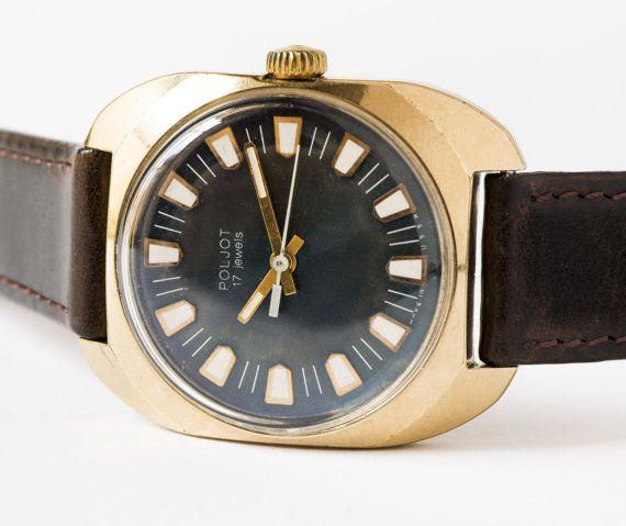 Vintage men's wristwatch Poljot gold plated watch by SovietEra, $89.00