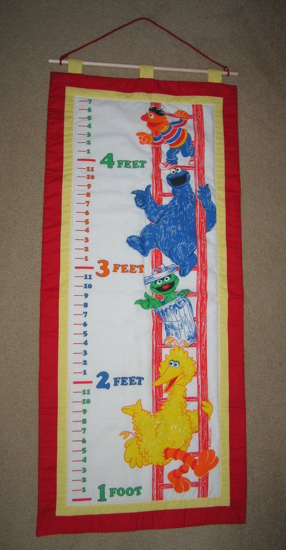 Fabric Growth Chart Quilted Sesame Street Bird Bird Oscar The