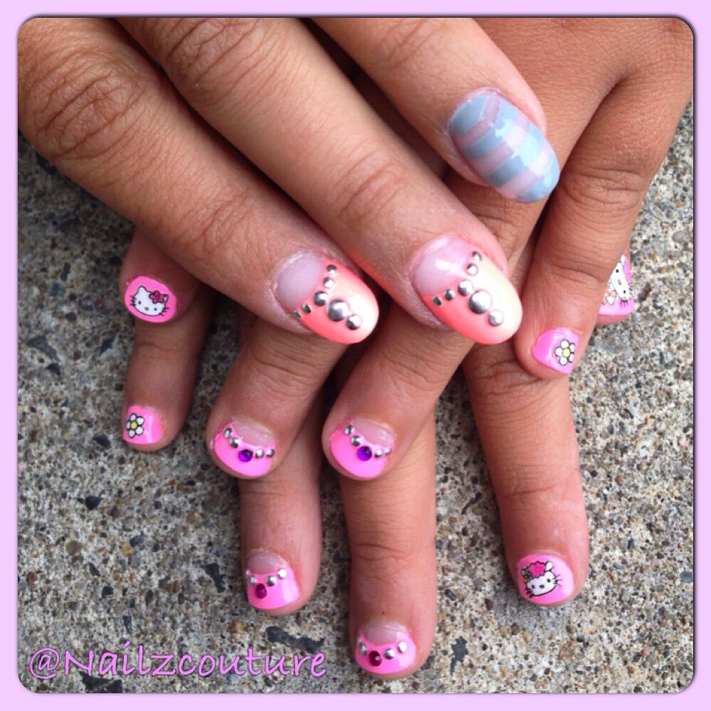 Kids nails to match moms   My nail art all hand painted   Pinterest ...