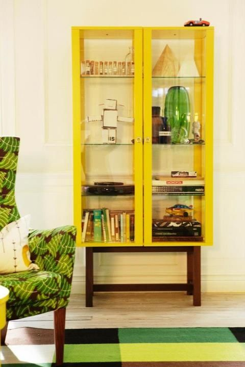 #IKEA Stockholm glass door cabinet, Yellow, £275