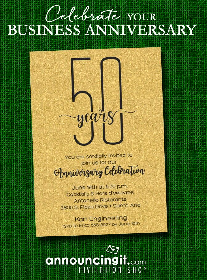 Slender shimmery gold business anniversary party invitations slender shimmery gold business anniversary party invitations invitations pinterest anniversary party invitations anniversary invitations and stopboris Choice Image