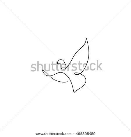 One Line Dove Flies Design Silhouette Hand Drawn Minimalism Style Vector Illustration Line Drawing Images Abstract Line Art Dove Tattoos